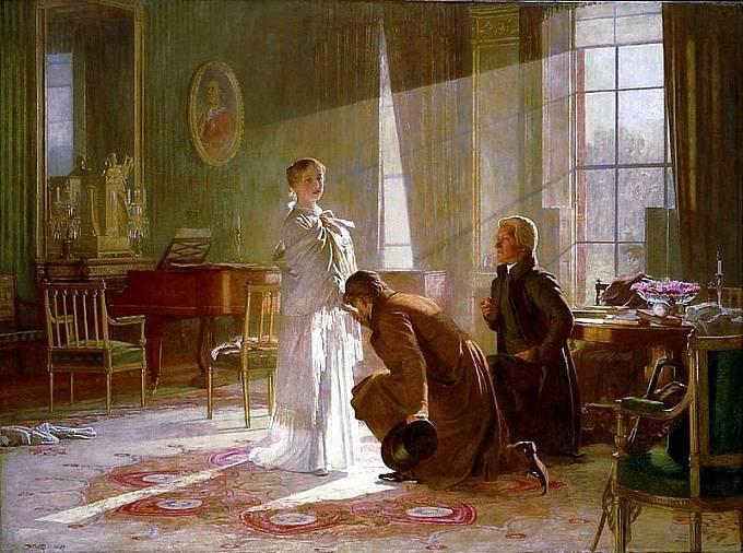 Královna Viktorie přijímá zprávu, že se stala královnou Británie.