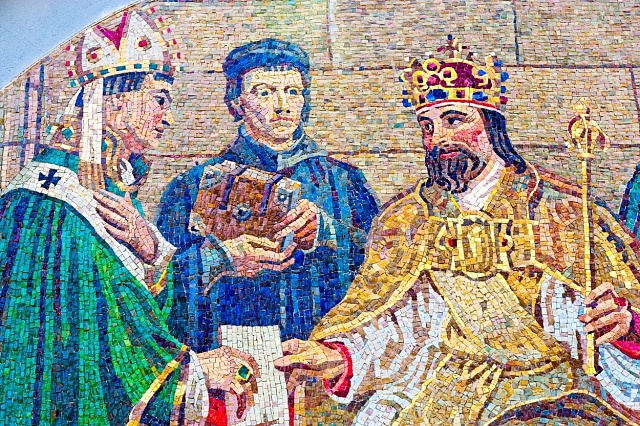 Mozaika od Maxe Švabinského na Karlově Univerzitě