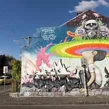 Jedno z mnoha graffiti v módní melbournské čtvrti Fitzroy