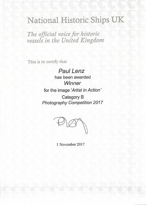 Osvědčení o vítězství v mezinárodní fotografické soutěži
