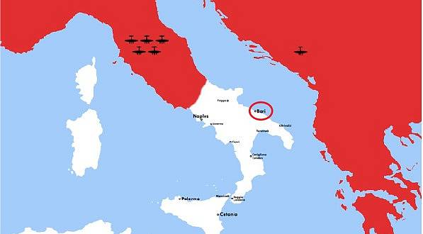 Poloha města Bari na mapě
