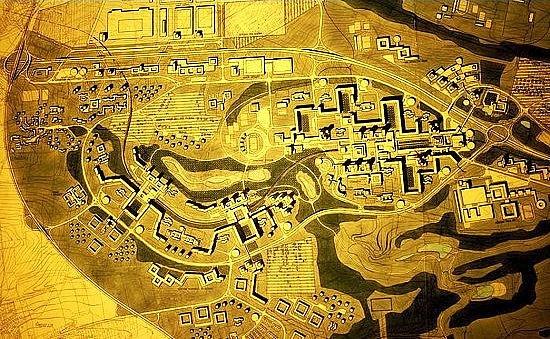 Návrh Jihozápadního Města vPraze, snímž Ivo Oberstein vyhrál urbanistickou soutěž vroce 1968.Projekt později doznal změn, ale základní koncepce už zůstala.