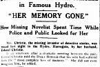 Noviny informující o nalezení spisovatelky, která byla jedenáct dní nezvěstná.
