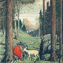 """""""Předloha Gandalfa,"""" napsal Tolkien k tomuto obrázku """"Rýbrcoula"""" od německého malíře Josefa Madlenera"""