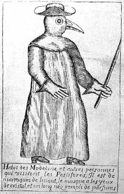 Středověcí lékaři se chránili před morem maskami ve tvaru ptačích zobáků.
