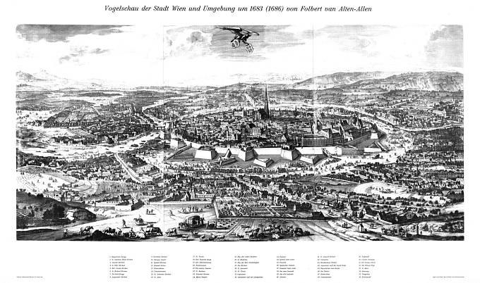 Pohled z ptačí perspektivy na město Vídeň v roce 1683 před osmanským obléháním.