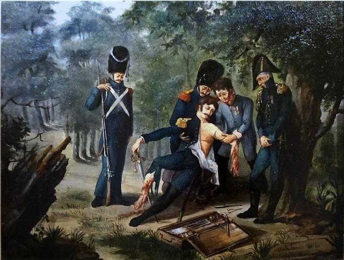 Chirurg Larrey provádí amputaci ruky a nohy plukovníku Rebsomenovi