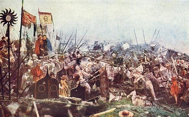 Luděk Marold: skupina bratrských vojevůdců na panoramatu bitvy uLipan.