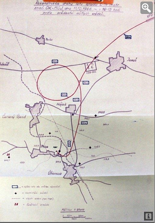 nákres letu letounu OK-MCJ, který skončil havárií u Ptic