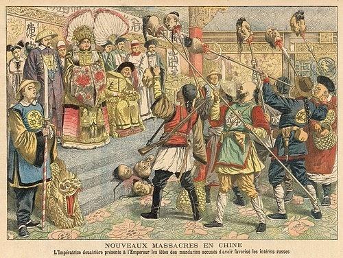 Vdova císařovna Tz'u-Hsi ukazuje císaři Kuang-Hsu useknuté hlavy zrádců podezřelých ze sympatií kRusům