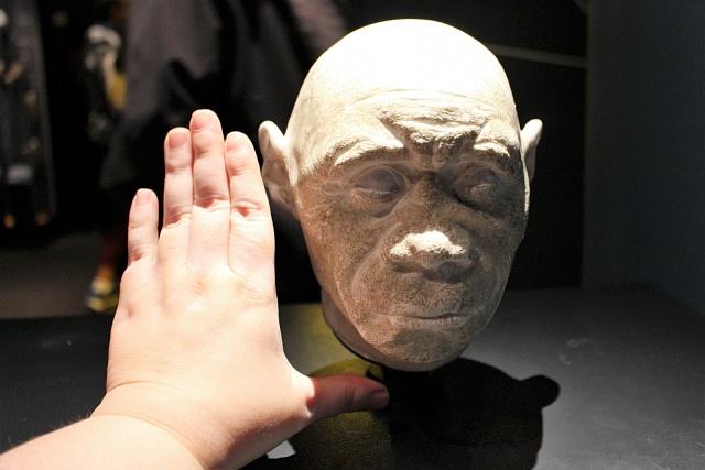 Model lebky původního 'hobita' vproporcích klidské ruce