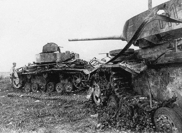 Zničené tanky po bitvě uProchorovky