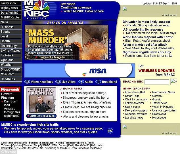 Webová stránka serveru MSNBC