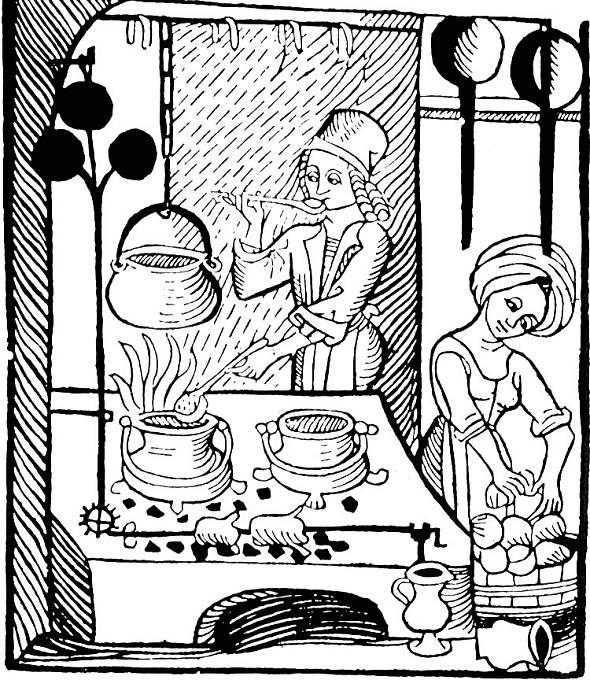 Dřevorytina z německé kuchařky z 15. století