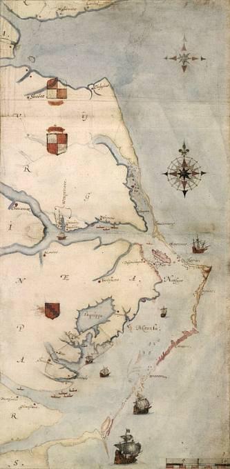 Mapa oblasti Roanoke z roku 1584