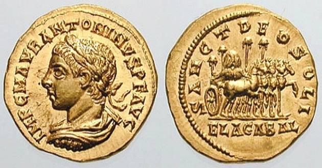 Císař Elagabalus na dobových mincích