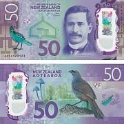 Nominovaná bankovka za rok 2016. Padesát novozélandských dolarů s průhledným okénkem.