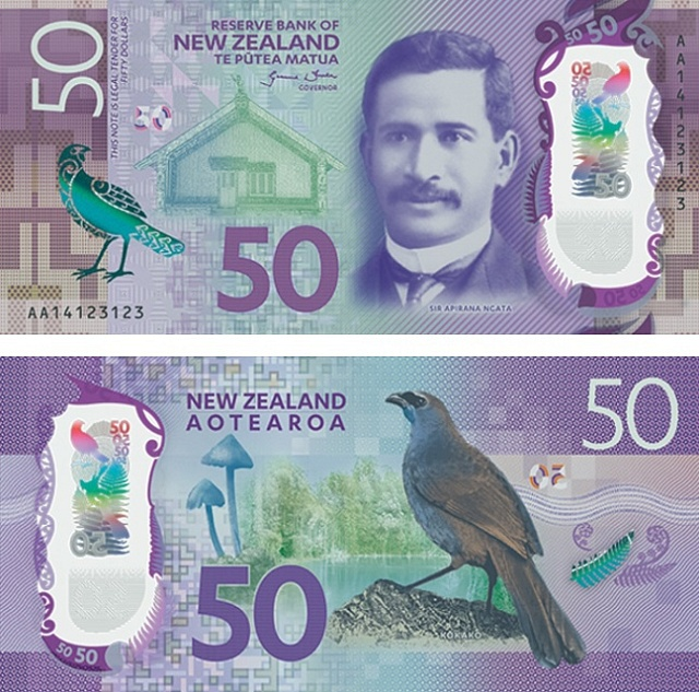 Nominovaná bankovka za rok 2016. Padesát novozélandských dolarů s polymerovým okénkem.