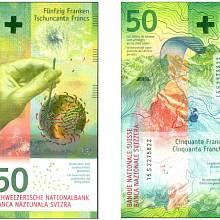 Nominovaná bankovka za rok 2016. Švýcarských 50 franků s vyobrazením větru.