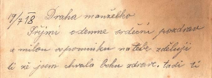 Úvod Tomášova dopisu o bitvě na Piavě