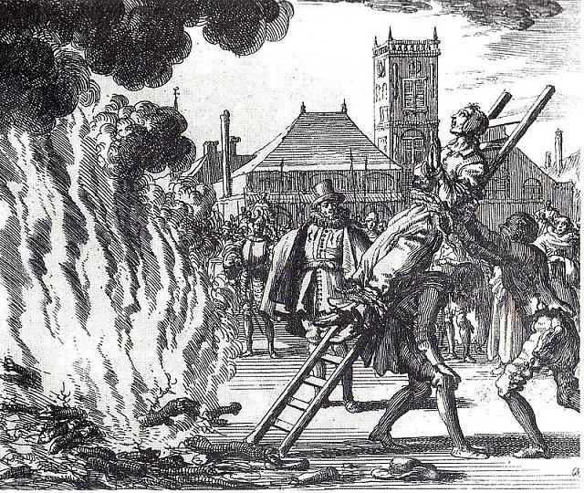 Upálení holandského heretika Annekena Hendrikse, 16.století