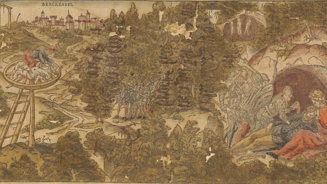 Barevný dřevoryt neznámého autora, zobrazující Christmanovu jeskyni