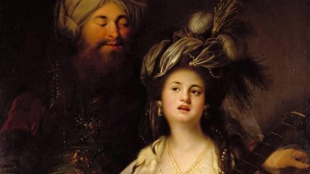 Roxelana a Sulejman I. Nádherný na obrazu od Antona Hickela z roku 1780.