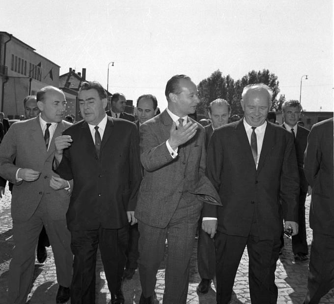 Alexandr Dubček s Leonidem Iljičem Brežněvem v Čierné nad Tisou