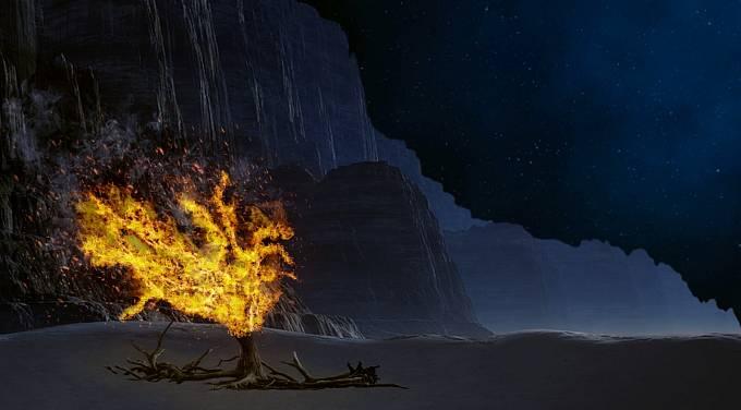 Mojžíšovi se zjevil v hořícím keři Bůh.