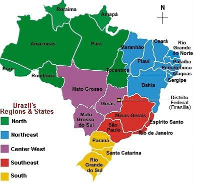Správní členění Brazílie na jednotlivé státy.