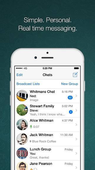 Náhled aplikace WhatsApp