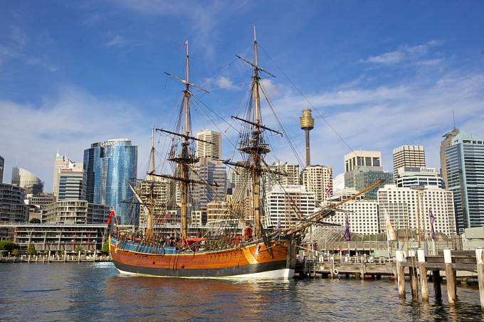 Replika lodi HMS Endeavour, potopené v srpnu roku 1778