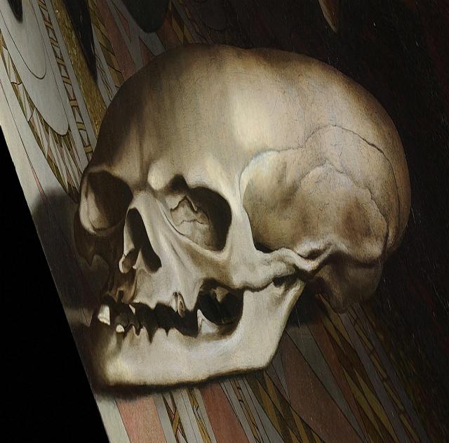 Lebka se objeví, když se na obraz podíváte zostrého úhlu.