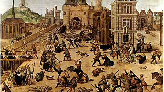 Dobové vyobrazení vraždění protestantských hugenotů ve Francii během Bartolomějské noci 24.srpna 1572