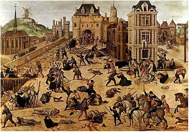 Dobové vyobrazení vraždění protestantských hugenotů ve Francii během takzvané bartolomějské noci 24. srpna 1572