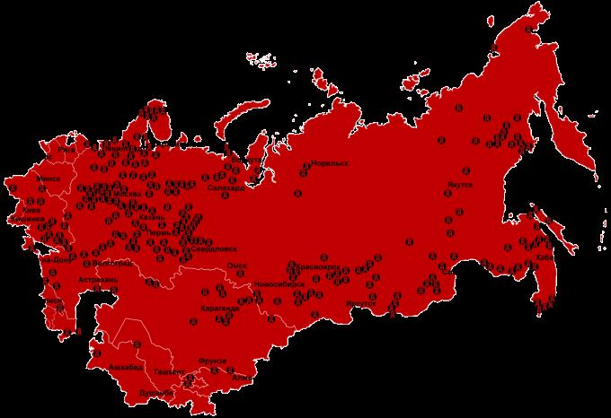 Mapa sovětských gulagů