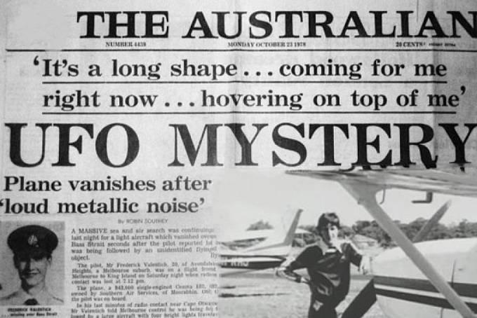 Titulní strana novin The Australian po Valentichově zmizení