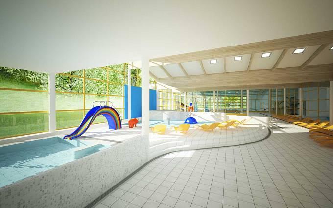 Vizualizace: Dětský bazén se skluzavkou je určen pro nejmenší.