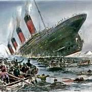 Co dělali lidé na palubě? Jaké byly jejich pocity? Vše spláchl oceán.Kolorovaná kresba potápějícího se Titanicu.