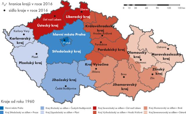 České kraje vletech 1960až 1990 (značeno barvami) a po roce 1998