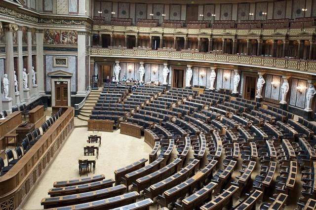 Historický sál říšské rady ve Vídni, kde se vletech 1885až 1901odehrávala velká část politické kariéry Josefa Kaizla