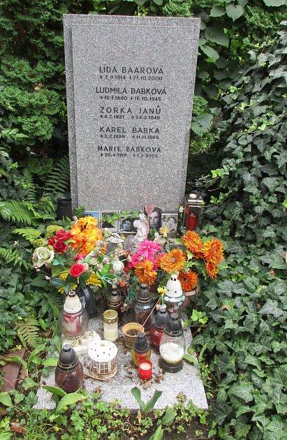 Hrob Lídy Baarové, kde leží i její sestra Zorka Janů
