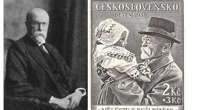 """Slavná československá známka s """"tatíčkem Masarykem"""" a holčičkou v kroji, Evou Neugebauerovou"""