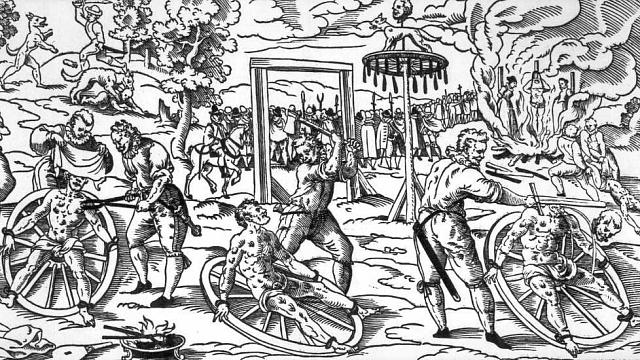 Vminulosti mohli být lidé mučeni na těžkém dřevěném kole iza ošklivost