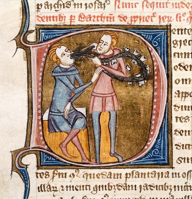 představa zubařství ve 14.století