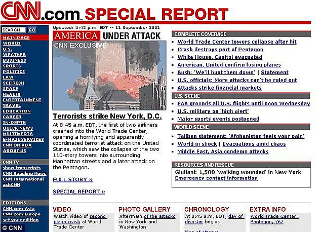 Webová stránka stanice CNN