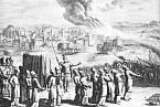 Kněží obcházejí se schránou úmluvy Jericho, mědiryt 18. století