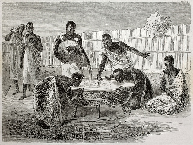 Ilustrace, zveřejněná vroce 1864vLe Tour du Monde, zobrazuje obyvatele Ugandy, jak pijí ze společné nádoby prosné pivo.