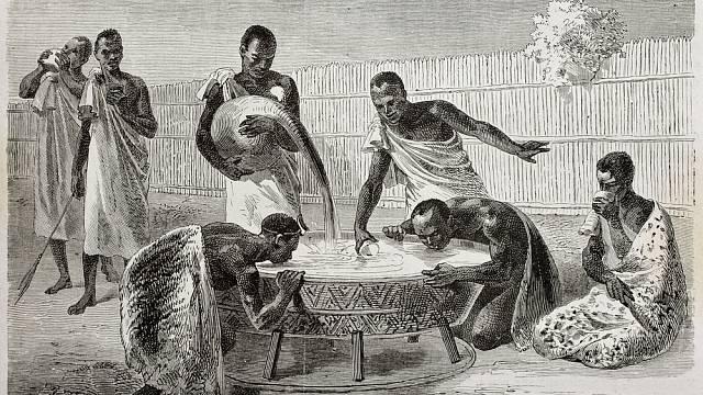 Ilustrace, zveřejněná v roce 1864 v Le Tour du Monde, zobrazuje obyvatele Ugandy, jak pijí ze společné nádoby prosné pivo.