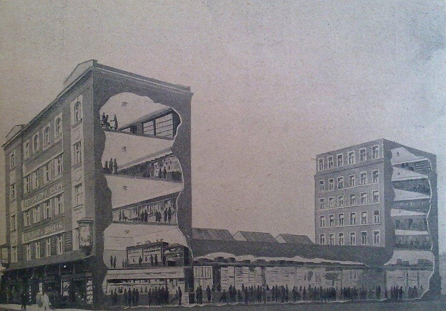 Obrázek průřezu obchodním domem Brouk & Babka na pražské Letné, který vznikl v letech 1919 až 1925.